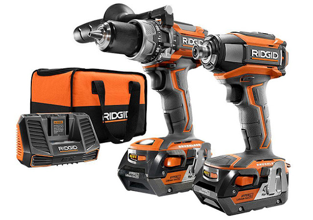 Ridgid combo kit of hammer drill and impact driver