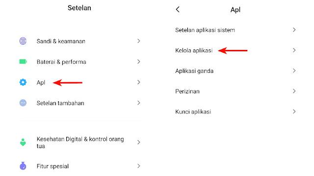 Buka menu Apl dan Kelola aplikasi