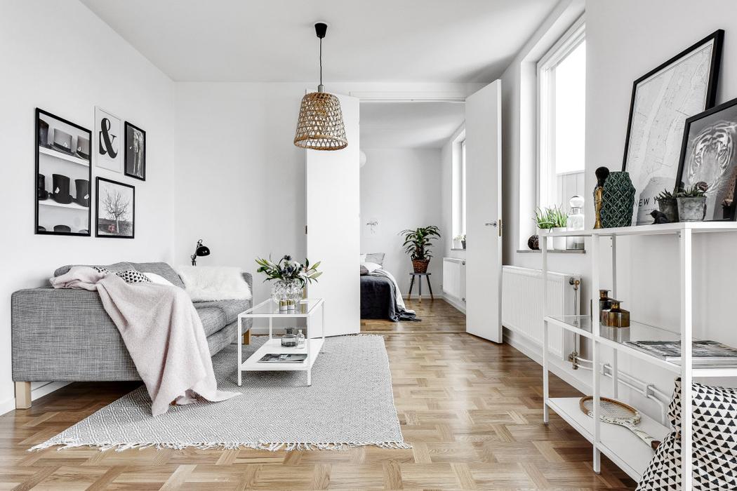 salon apartamento decoracion blanco y negro