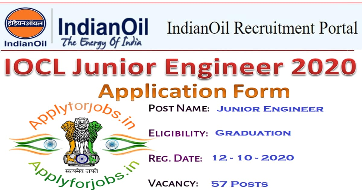 Indian Oil Junior Engineer JE Online Form 2020, applyforjobs.in