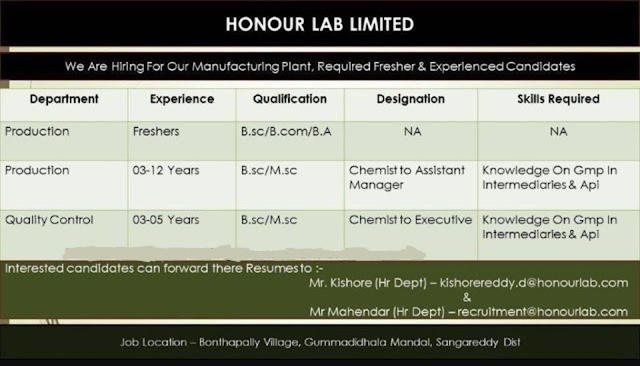 Honour Lab Ltd. Openings for Freshers & Experienced - Production, QC Departments Send Resume