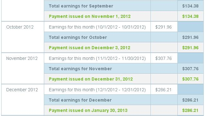 My earning statement: