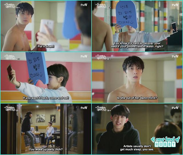 ha wom take ji woon mobile phone if you want you phone come and eat- Cinderella and Four Knights - Episode 4 Review