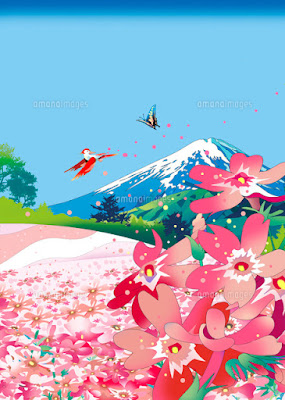 しばさくら、春、芝桜、イラスト、川野隆司