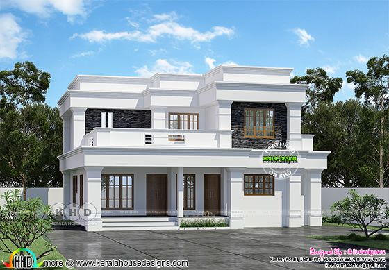 Front view rendering of flat roof decorative style house architecture