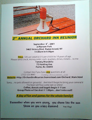 Orchard Inn Reunion bulletin for the 2nd annual reunion... September 8, 2001
