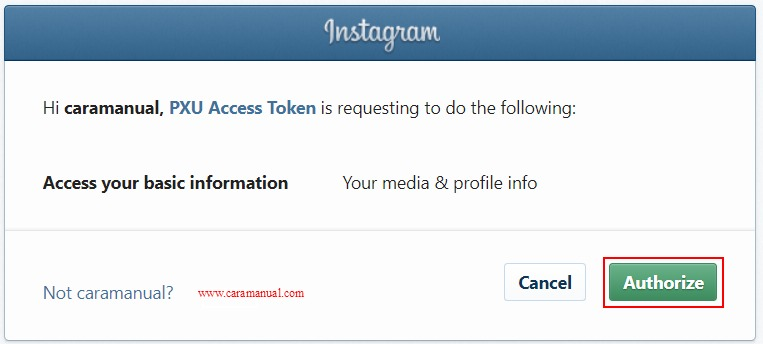Authorize Access Token Instagram