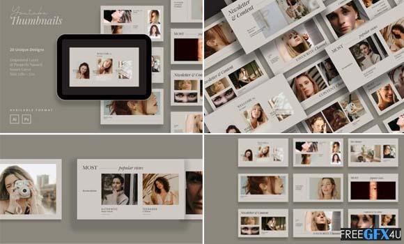 20 Minimalist Beauty PSD Youtube Thumbnail