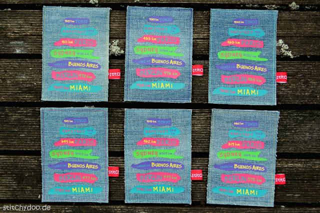 """stitchydoo: Jeansrecycling - Stoffkarten zum Thema """"Stadt, Land, Fluss"""" - geplottete Entfernungsschilder"""