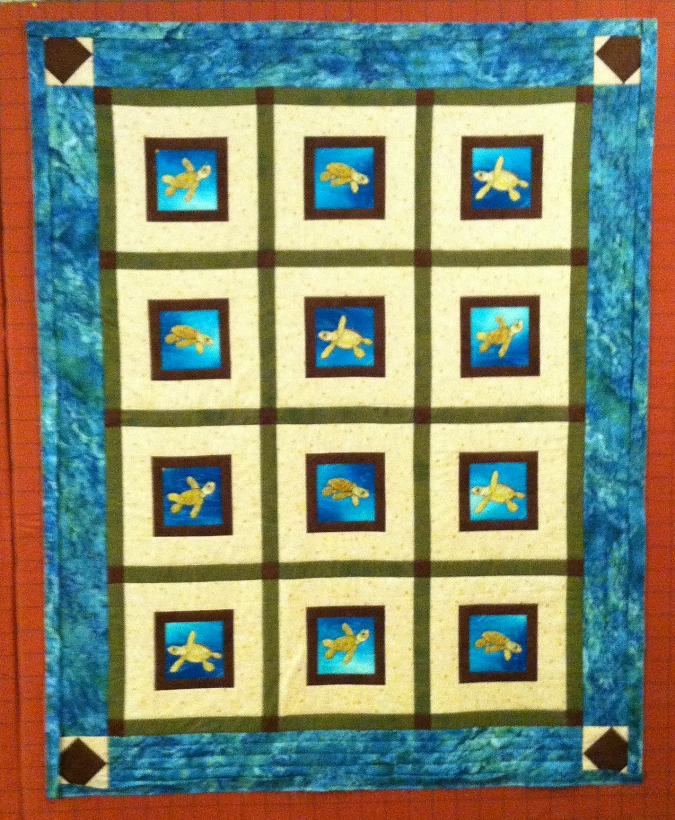 Quilt with Sashing and Cornerstones, Turtle Quilt