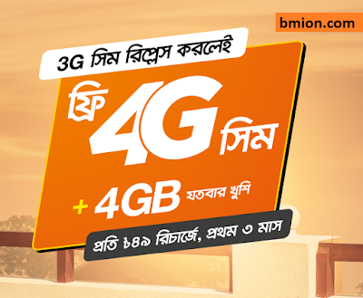 Banglalink Free 4G SIM Upgrade on 49Tk Pack Purchase - Get 4GB Data 7Days! Check Your 4G SIM or Collect From Customer Care!