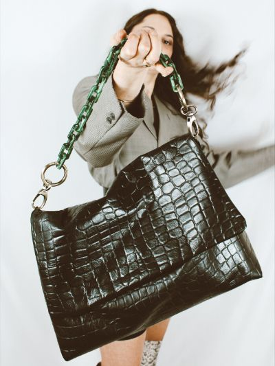 Collection Croco Fever sac Croco Loco version noire Margaux-Lou Maroquinerie