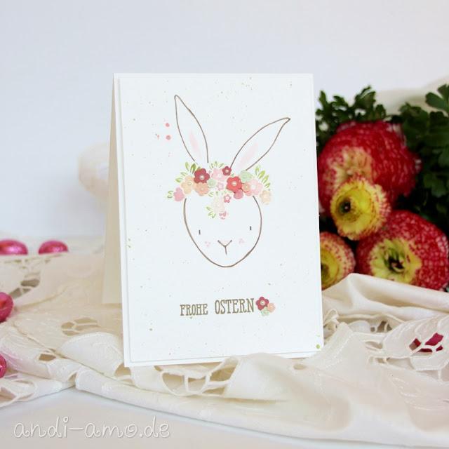 Karte Frohe Ostern Hase mit Blumenkranz