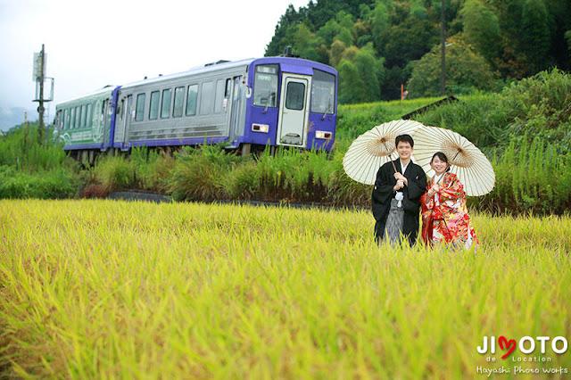 鉄道で前撮りロケーション撮影
