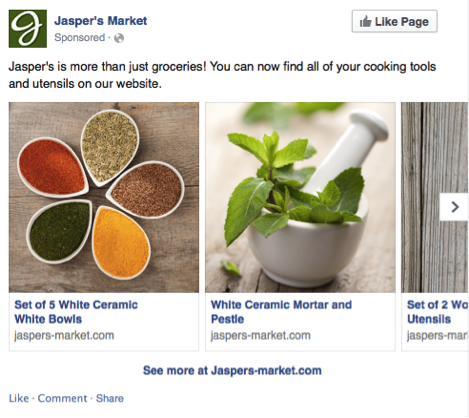Facebook multi-product ads on desktop