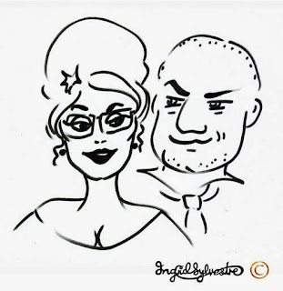 Wedding Entertainment ideas Party Entertainment Corporate Entertainment - Glamicature flattering on-the-spot caricatures by UK artist Ingrid Sylvestre North East Newcastle upon Tyne Durham Sunderland Middlesbrough Northumberland Yorkshire