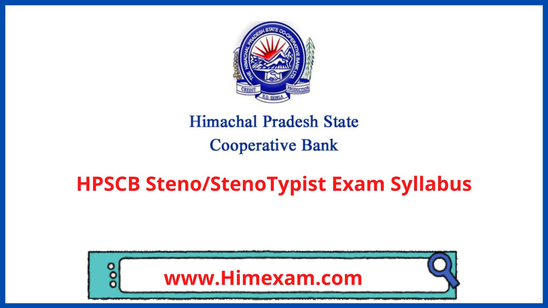 HPSCB Steno/StenoTypist Exam Syllabus