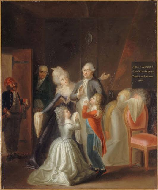 Luis XVI conduzido ao cadafalso. Fez a promessa que Luis XIV recusou, mas tarde demais. Jean-Jacques Hauer  (1751 – 1829), Museu Carnavalet