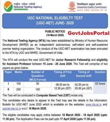 ugc net exam 2020 notification