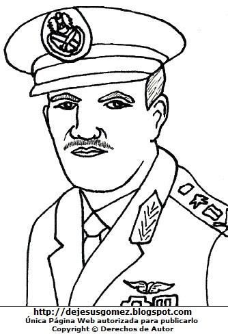 Hafez al-Asad mas joven de militar para colorear o pintar. Dibujo de Hafez al-Asad de Jesus Gómez
