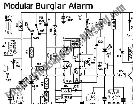 Free Schematic Diagram: Modular Burglar Alarm Circuit