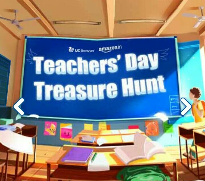 UC browser teachers day treasure hunt offer- get free mobile recharge, cashback on movie ticket,