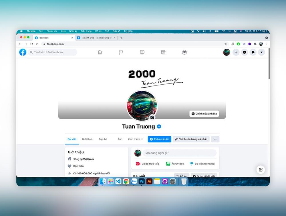 Tạo ảnh trang cá nhân facebook với giao diện máy tính