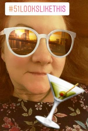 Instagram filter - Karen with martini and sunset reflection in sunglasses