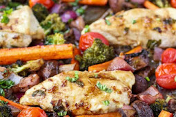 Healthy Easy One Pan Balsamic Chicken Veggie Bake Recipe