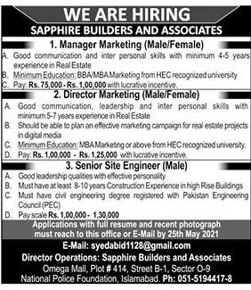 syedabid1128@gmail.com - Sapphire Builders & Associates Jobs 2021 in Pakistan