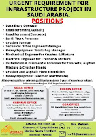 URGENT REQUIREMENT FOR INFRASTRUCTURE PROJECT IN SAUDI ARABIA