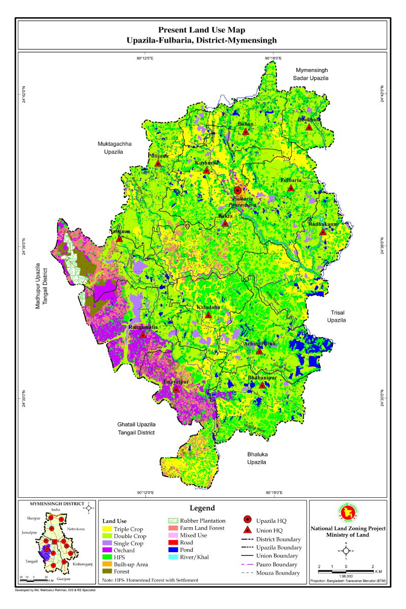 Fulbaria Upazila Mouza Map Mymensingh District Bangladesh