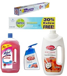 Dettol shaving Cream worth Rs.65 for Rs.26 | Pepsodent Toothbrush worth Rs.32 for Rs.16 | Lizol Floor Cleaner worth Rs.135 for Rs.68 & more