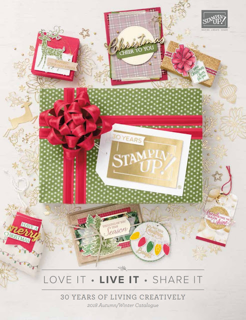 This picture shows the front cover of the Stampin' Up! UK Autumn Winter Catalogue which runs from the 5th September 2018 until the 2nd January 2018.