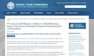 FTC Issues Staff Report on Made in USA Workshop