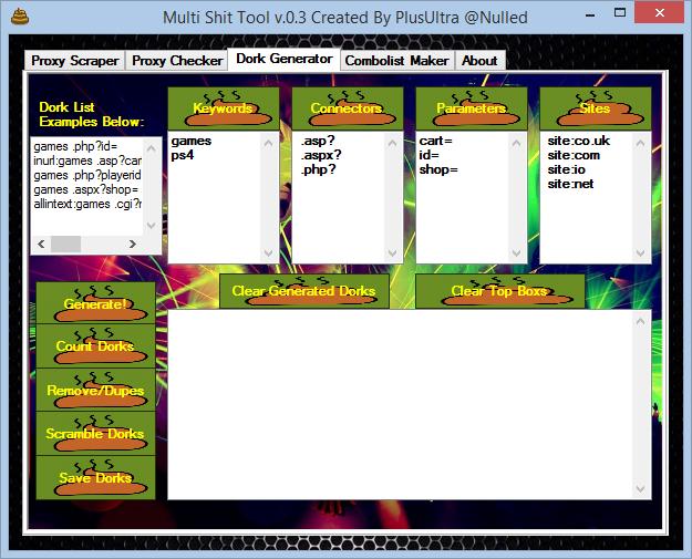 Multi Shit Tool v 0 3 - Dork/Combolist Maker & Proxy Scraper/Checker