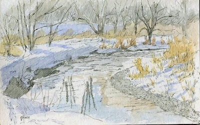 art sketch pen ink nature jordan river parkway