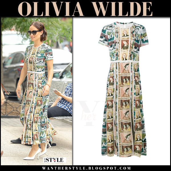 Olivia Wilde in green figures print dress burberry what she wore july 6 2017 live with kelly and ryan