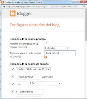 Cuadro Configuración Entradas en Blogspot