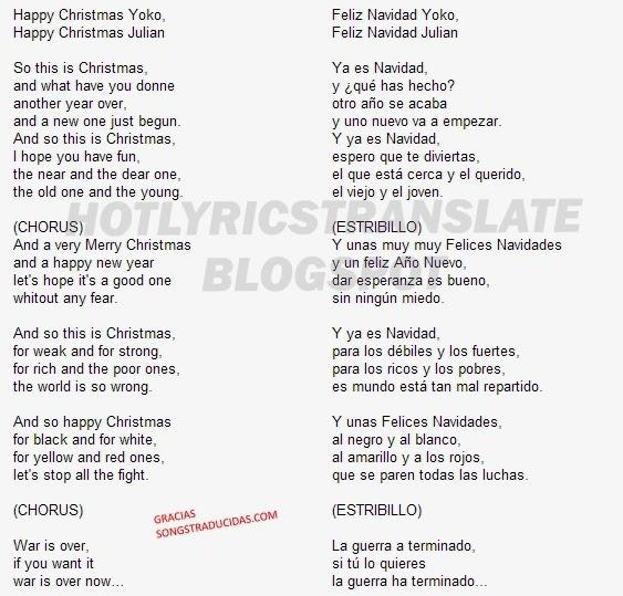 Top Lyrics Translated Canciones Top Traducidas John Lennon Happy Christmas
