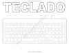 Dibujos de teclado de computadora para colorear con letras y sin letras