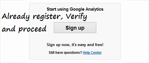 analytics sign up and Installation in wordpress step 2