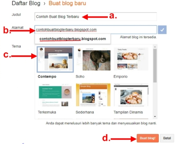 Langkah-Langkah Membuat Blog baru di Blogger
