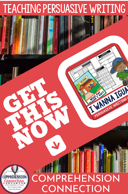 If you're looking for a Print and GO lesson using the wonderful book, I Wanna Iguana, check out this blog post! A full writing lesson for persuasive/opinion writing is waiting for you for FREE!  #mentortexts make lessons meaningful!