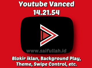 YouTube Vanced Mod 14.21.54 Apk (Tanpa Iklan, Background Play, Black/ Blue/ Pink Theme)