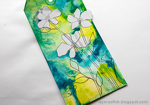 Layers of ink - Flowers on white background tutorial by Anna-Karin Evaldsson. Mask and stamp.