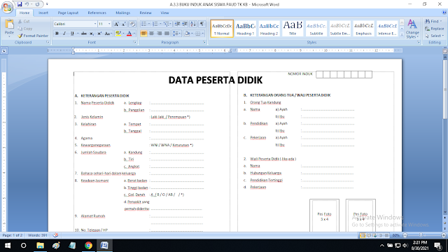 Buku Induk Siswa Paud TK KB TPA SPS RA Format doc