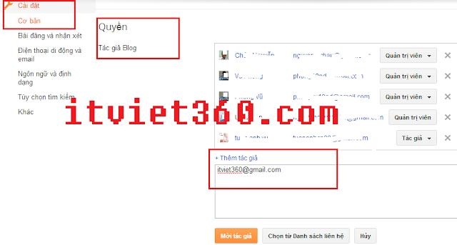 Thêm Admin cho blogspot