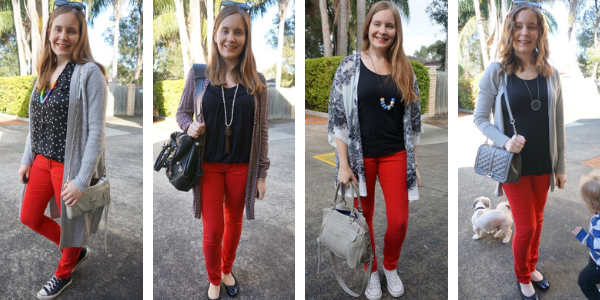 4 ways to wear black tops and red skinny jeans | awayfromtheblue