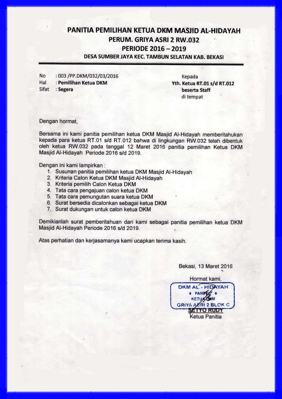 Pemilihan Ketua Dkm Al Hidayah Portal Rw 032